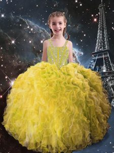 Hot Selling Beading and Ruffles Little Girls Pageant Dress Wholesale Light Yellow Lace Up Sleeveless Floor Length
