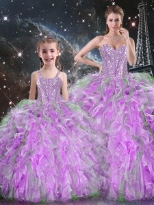 Fashion Organza Sweetheart Sleeveless Lace Up Beading and Ruffles 15 Quinceanera Dress in Multi-color