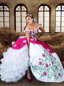 Simple Sleeveless Floor Length Embroidery and Ruffled Layers Lace Up Quinceanera Gowns with Multi-color