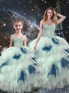 Graceful Sleeveless Organza Floor Length Lace Up Sweet 16 Dresses in Multi-color with Beading and Ruffled Layers