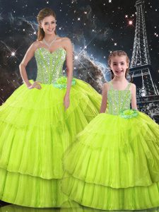 Shining Floor Length Lace Up 15 Quinceanera Dress Yellow Green for Military Ball and Sweet 16 and Quinceanera with Ruffled Layers