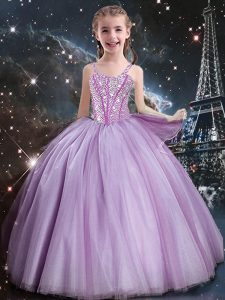 Lilac Sleeveless Beading Floor Length Little Girls Pageant Dress