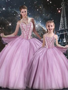 Affordable Beading Sweet 16 Dresses Lilac Lace Up Sleeveless Floor Length