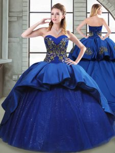 High Quality Ball Gowns Sleeveless Blue Quince Ball Gowns Court Train Lace Up