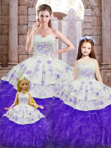 Glittering Sleeveless Beading and Appliques and Ruffles Lace Up 15 Quinceanera Dress