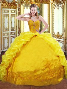 Exceptional Gold Ball Gown Prom Dress Sweetheart Sleeveless Brush Train Lace Up