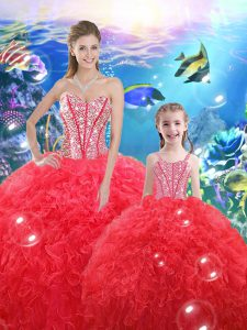 Glittering Floor Length Lace Up Sweet 16 Dress Coral Red for Military Ball and Sweet 16 and Quinceanera with Beading and Ruffles