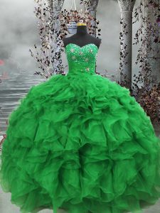 Custom Fit Floor Length Lace Up Quinceanera Gowns Green for Military Ball and Sweet 16 and Quinceanera with Beading and Ruffles