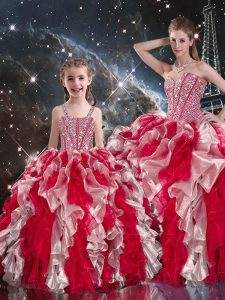 Multi-color Ball Gowns Sweetheart Sleeveless Organza Floor Length Lace Up Beading and Ruffles Sweet 16 Dress