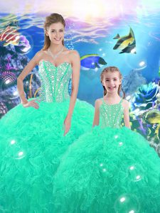 Floor Length Lace Up Quince Ball Gowns Turquoise for Military Ball and Sweet 16 and Quinceanera with Beading and Ruffles