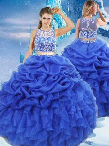Chic Royal Blue Two Pieces Scoop Sleeveless Organza Floor Length Zipper Beading and Ruffles and Pick Ups Ball Gown Prom Dress