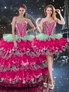 Popular Sleeveless Organza Floor Length Lace Up Quinceanera Dress in Multi-color with Beading and Ruffles and Ruffled Layers