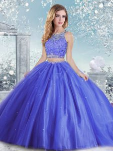 Fashion Blue Ball Gowns Tulle Scoop Sleeveless Beading and Sequins Floor Length Clasp Handle Sweet 16 Quinceanera Dress