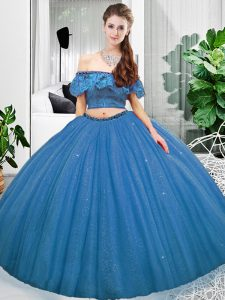 Beautiful Sleeveless Floor Length Lace Lace Up Sweet 16 Quinceanera Dress with Blue