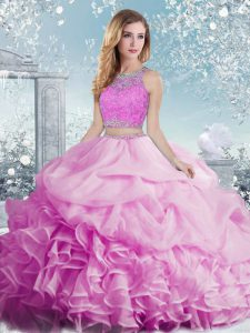Fitting Lilac Scoop Neckline Beading and Ruffles and Pick Ups 15th Birthday Dress Sleeveless Clasp Handle