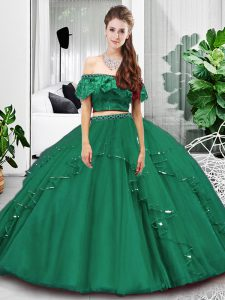 Designer Off The Shoulder Sleeveless Tulle Sweet 16 Dress Lace and Ruffles Lace Up