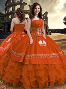 Fantastic Rust Red Sleeveless Taffeta Zipper Quinceanera Gown for Military Ball and Sweet 16 and Quinceanera