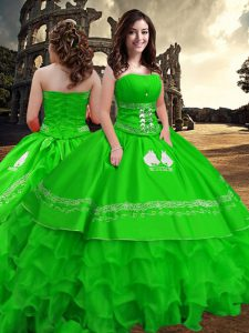 Green Taffeta Zipper Strapless Sleeveless Floor Length Sweet 16 Dresses Embroidery and Ruffled Layers