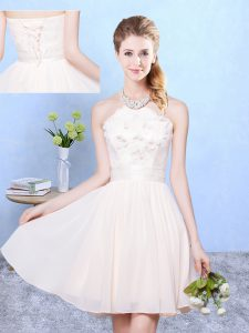 Admirable Knee Length Baby Pink Vestidos de Damas Chiffon Sleeveless Lace
