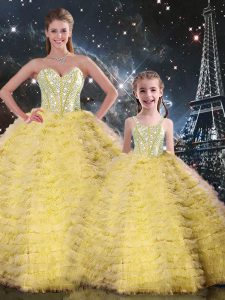 Yellow Ball Gowns Beading and Ruffles Quinceanera Dresses Lace Up Tulle Sleeveless Floor Length