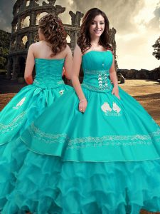 Free and Easy Turquoise Strapless Zipper Embroidery and Ruffled Layers Quince Ball Gowns Sleeveless