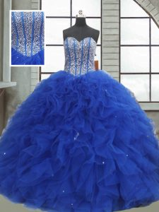 Modest Royal Blue Organza Lace Up Sweetheart Sleeveless Floor Length Quince Ball Gowns Beading and Ruffles and Sequins