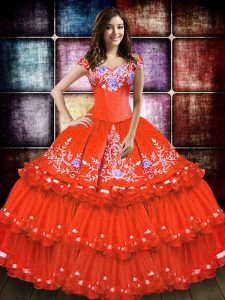 Orange Red Off The Shoulder Neckline Embroidery and Ruffled Layers Sweet 16 Dresses Sleeveless Lace Up