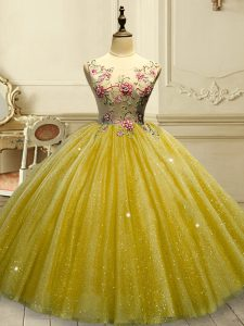 New Style Tulle Sleeveless Floor Length Sweet 16 Dresses and Appliques and Sequins