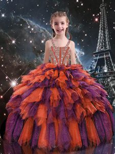Floor Length Rust Red Little Girls Pageant Gowns Straps Sleeveless Lace Up