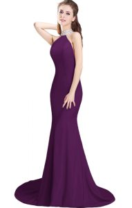 Gorgeous Purple Sleeveless Brush Train Beading Prom Dress