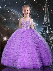 Eggplant Purple Tulle Lace Up Straps Sleeveless Floor Length Casual Dresses Beading and Ruffles and Ruffled Layers