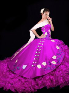 Taffeta V-neck Sleeveless Brush Train Lace Up Embroidery and Ruffles 15 Quinceanera Dress in Fuchsia