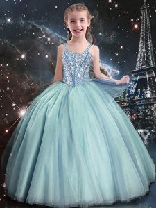 Adorable Straps Sleeveless Tulle Child Pageant Dress Beading Lace Up