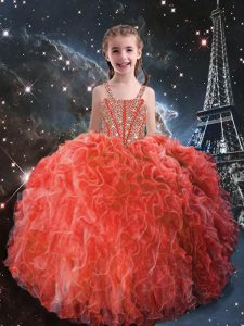 Glorious Coral Red Juniors Party Dress Quinceanera and Wedding Party with Beading and Ruffles Straps Sleeveless Lace Up