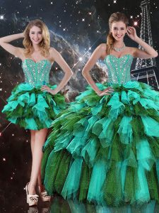 Sleeveless Beading and Ruffles and Ruffled Layers Lace Up Quinceanera Dress