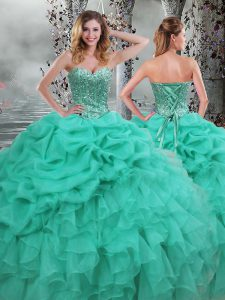 Sweetheart Sleeveless Lace Up Quince Ball Gowns Turquoise Organza