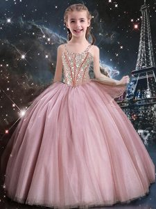 Perfect Baby Pink Tulle Lace Up Straps Sleeveless Floor Length Flower Girl Dresses for Less Beading
