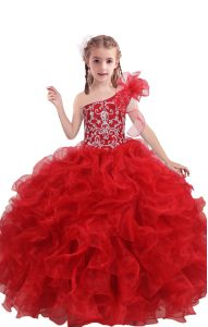 One Shoulder Sleeveless Casual Dresses Floor Length Beading and Ruffles Red Organza