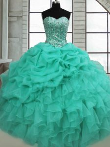Admirable Sleeveless Beading and Ruffles and Pick Ups Lace Up Quinceanera Gown