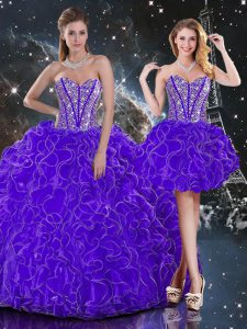 Dazzling Sleeveless Organza Floor Length Lace Up 15 Quinceanera Dress in Purple with Beading and Ruffles