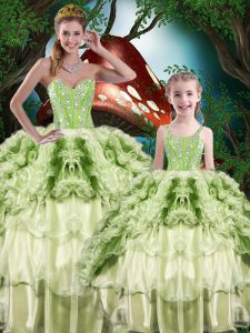 Hot Selling Ball Gowns Sweet 16 Dresses Yellow Green Sweetheart Organza Sleeveless Floor Length Lace Up