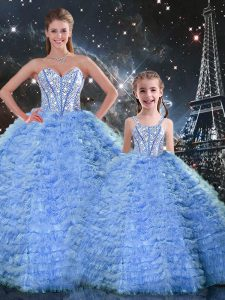 Romantic Blue Tulle Lace Up Quince Ball Gowns Sleeveless Floor Length Beading and Ruffles