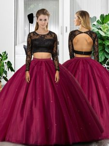 Modern Fuchsia Scoop Neckline Lace and Ruching Vestidos de Quinceanera Long Sleeves Backless