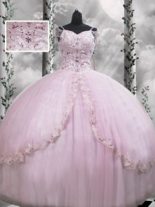 Captivating V-neck Cap Sleeves Tulle 15th Birthday Dress Beading and Appliques Brush Train Side Zipper