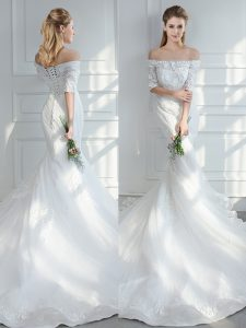 New Arrival White Wedding Dresses Tulle Court Train Half Sleeves Lace and Appliques