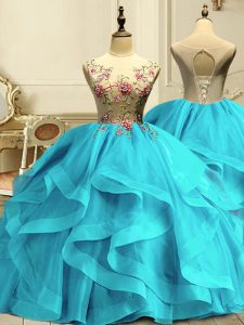 Captivating Scoop Sleeveless Organza 15th Birthday Dress Appliques and Ruffles Lace Up