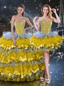 Attractive Multi-color Sweetheart Neckline Beading and Ruffled Layers 15 Quinceanera Dress Sleeveless Lace Up