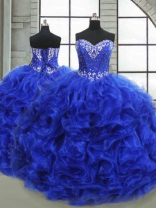 Gorgeous Royal Blue Lace Up Ball Gown Prom Dress Beading and Ruffles Sleeveless Floor Length