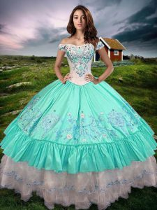Edgy Floor Length Lace Up 15th Birthday Dress Aqua Blue for Military Ball and Sweet 16 and Quinceanera with Beading and Embroidery and Ruffled Layers