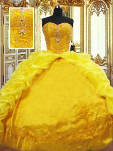 Great Gold Ball Gowns Beading and Embroidery and Pick Ups Vestidos de Quinceanera Lace Up Taffeta Sleeveless